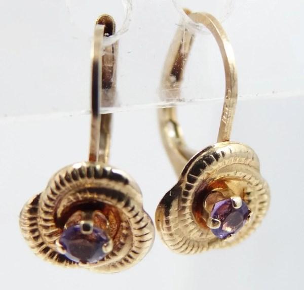 10k Gold Amethyst Lever Earrings Mur-sadie'