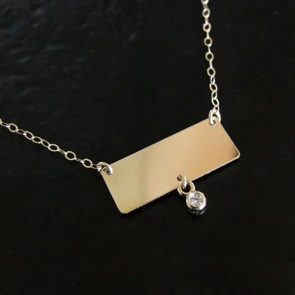 14k Gold Nameplate Necklace - Rectangle With Diamond Drop