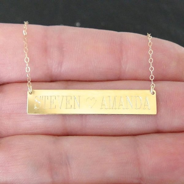Engrave - 14k Gold Nameplate Necklace Yellow Rose