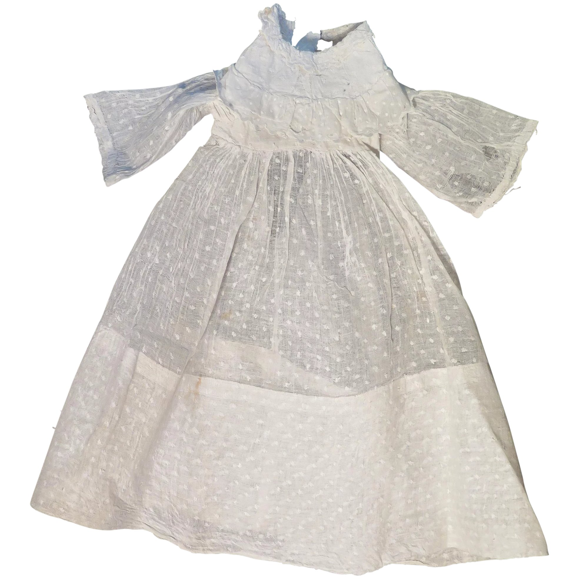 antique white cotton dotted