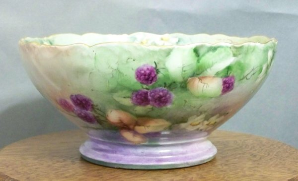 Limoges Hand Painted Fruit Small Punch Bowl Southern