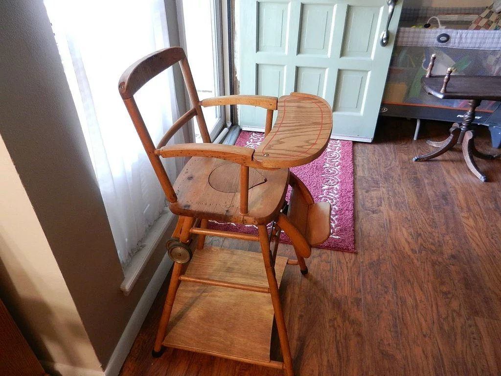 antique wooden high chair covers dubai vintage potty and play in one my click to expand