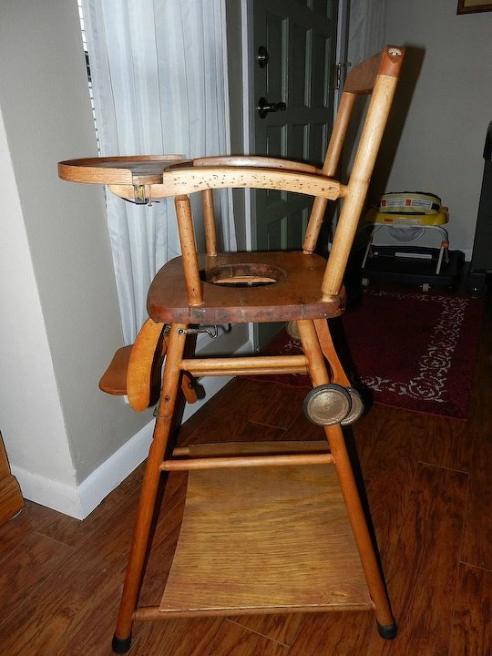 vintage wood high chair stool adjustable wooden potty and play in one my
