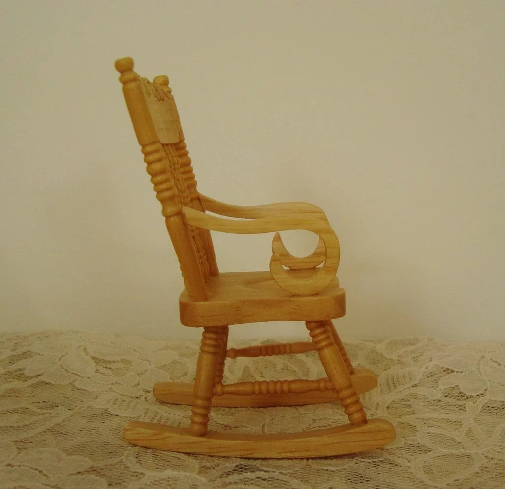 mini rocking chair quiet swivel miniature dollhouse wood furniture rocker