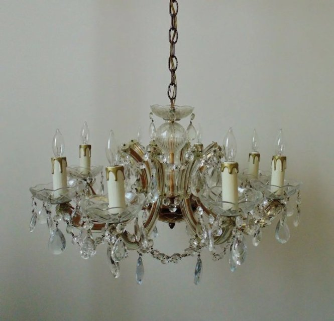 Italian Murano Glass Chandelier W Beads Prisms Venetian Vintage Crystal