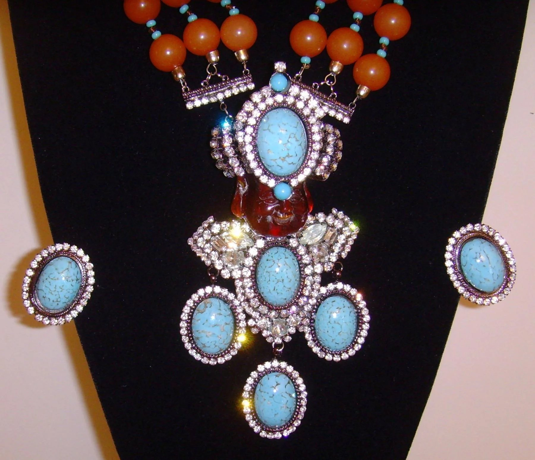 Lawrence VRBA Buddha Necklace And Earring Set