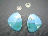 Golf Earrings Porcelain Glazed Pierced Hand Made ...