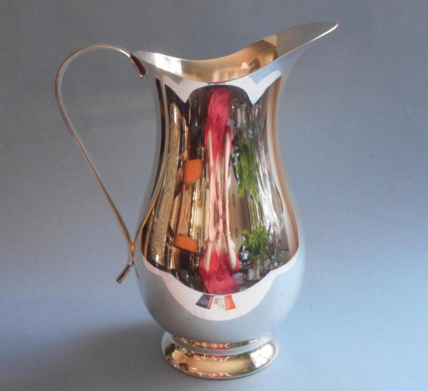 Silver Water Pitcher Vintage Tall Sleek Simple Mercy