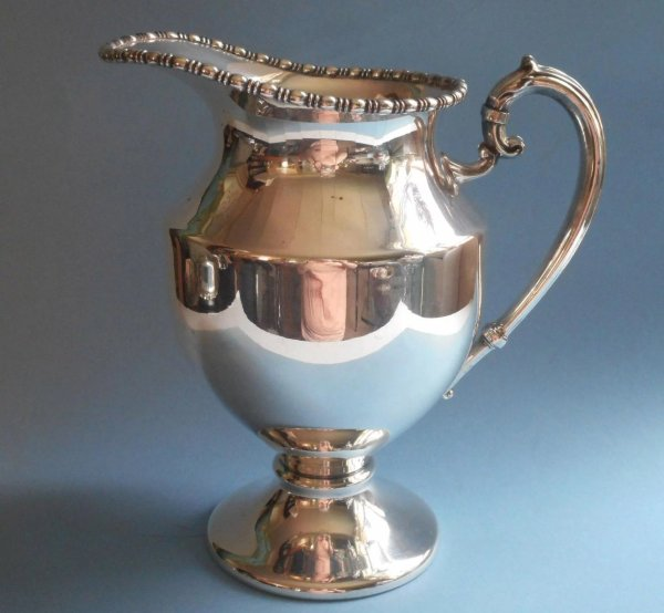 Antique Water Pitcher Silver Plated Beaded Rim Handsome