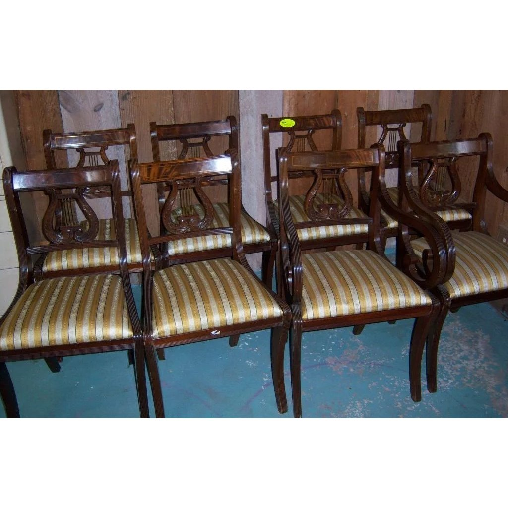 federal dining chairs silver accent chair mahogany lyre back sheraton style