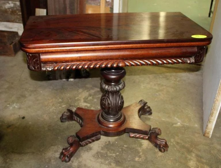 Mahogany Game Table Federal Empire Style : Roberts Antiques & Restorations | Ruby Lane