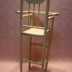 Antique Wooden High Chair Office Chairs Nyc For 12 15 Inch Doll Spiral Design Original Paint