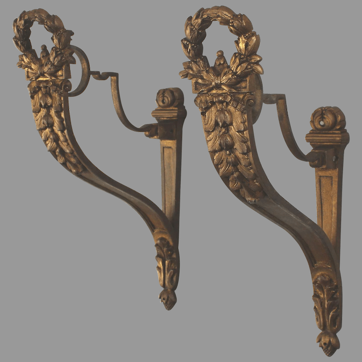 antique french gilt bronze drapery curtain rod holders large