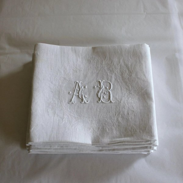 Eight Antique French Linen Monogrammed Napkins A B ...