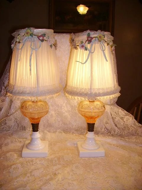 Vintage 1930s Pink Glass Boudoir Lamps Pair French Ribbon