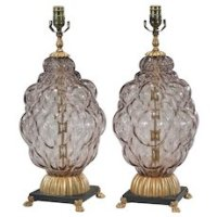 Pair LARGE Modern Table Lamps Mid Century Chinese Motif ...