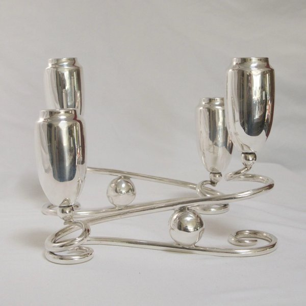 Pair Of Mid-century Modern Sterling Silver Candelabras