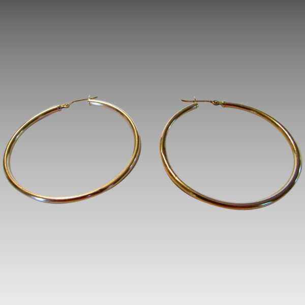 Karat Yellow Gold Hoop Earrings Style And Grace Ruby Lane