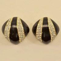 Dramatic Enamel and Rhinestones Vintage Ciner Earrings ...