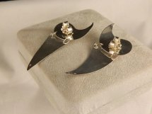 Vintage 1990' Rhodocrosite Bold Sterling Silver Dangle