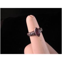 Vintage Sterling Silver And Marquise Amethyst Ring