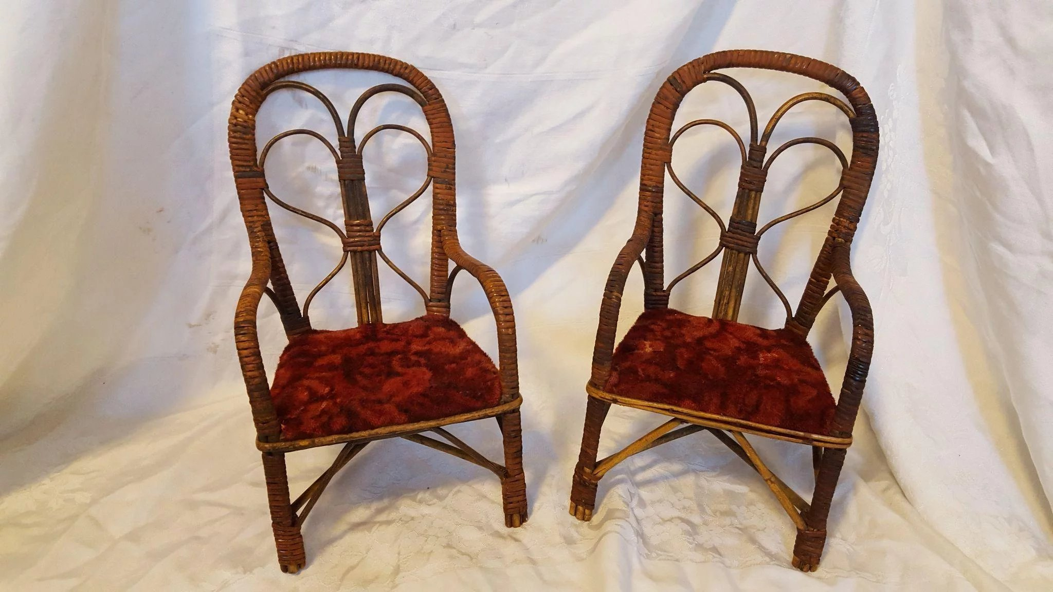 Very Rare Pair of Antique Wicker Doll Chairs Circa 1890s