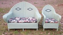 Vintage Matching Art Deco Wicker Settee And Arm Chair