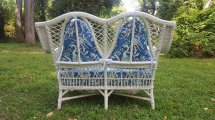 Shapely Vintage Bar Harbor Wicker Settee Circa 1920'