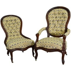 Gentlemans Chair Purple Rocking Pair Of Victorian Carved Chairs Ladies And Gentleman S Maine Click To Expand