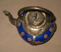 Chinese Vintage Porcelain & Metal Teapot Dynasty