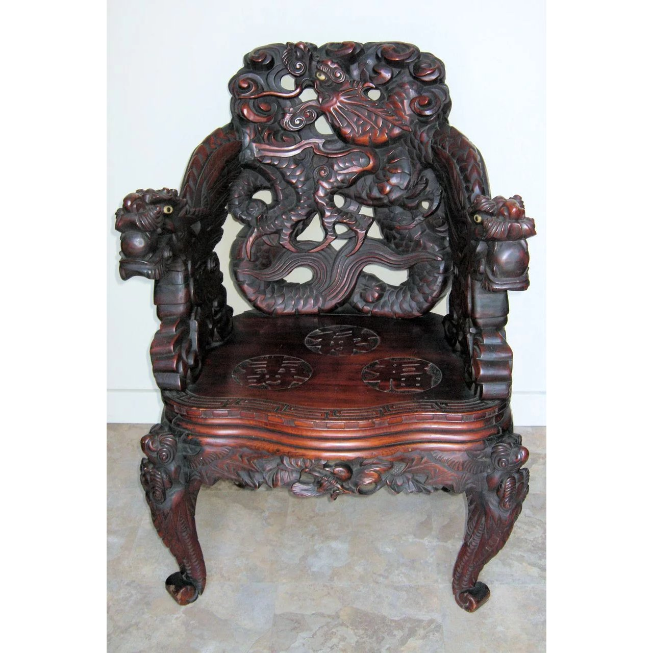 Dragon Chair Japanese Meiji Period Art Nouveau Carved Dragon Chair