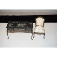 Wonderful Miniature Painted Desk Ornate W/ Fancy Chair ...