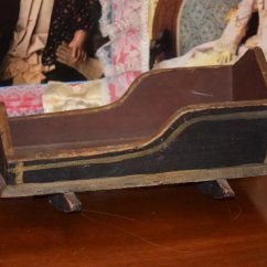 Spool Chair For Sale Swivel Leather Old Doll Cradle Folk Art Primitive Wood Tole Painted Bed : Oldeclectics   Ruby Lane