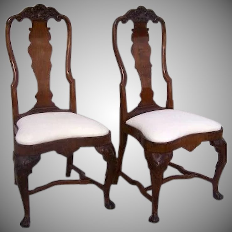 queen ann chairs folding chair kickstarter pair of english anne 18th century black tulip antiques ltd ruby lane