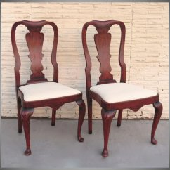 Queen Anne Style Chairs Minnie Mouse Chair Desk Uk Pair Of Red Paint Black Tulip Antiques Ltd Ruby Lane