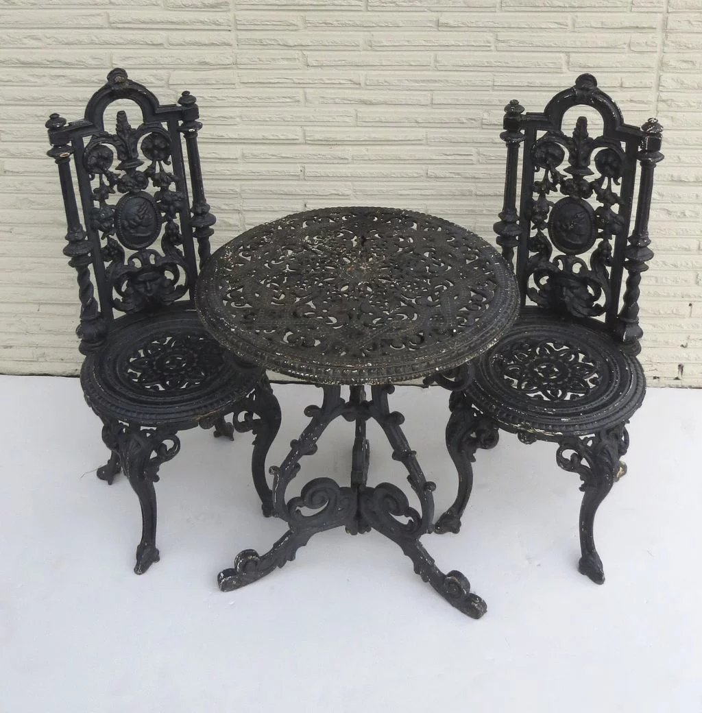 antique cast iron garden table and chairs best lift american two black