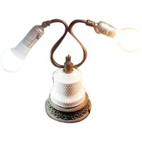 Two Bulb Electric Table Lamp with Hobnail Milk Glass ...