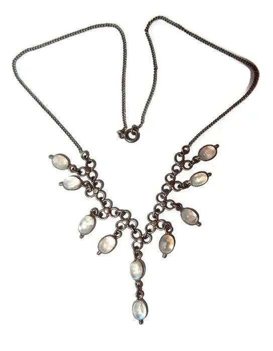 Antique Blue Moonstone Festoon Drop Necklace FINAL