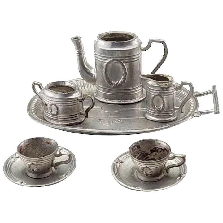 vintage dollhouse metal tea