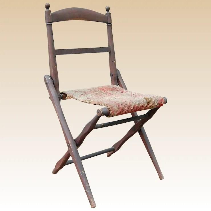 folding wooden chairs garelick fishing chair antique camp civil war era starr hill