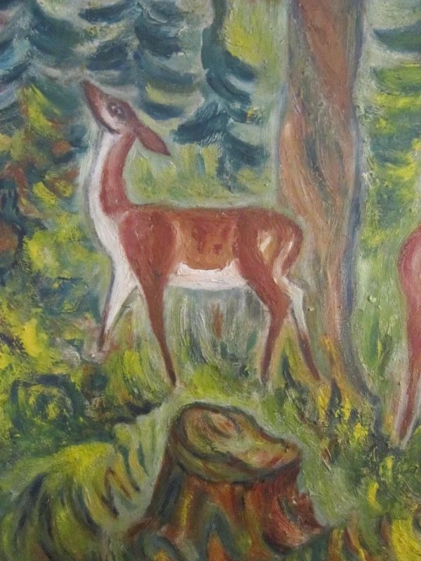 Abstract Oil Painting Of Deer Listed American Artist. Jaffe And Thurston Ruby Lane