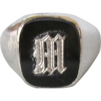 Vintage Initial M Signet Sterling and Black Onyx Men's ...