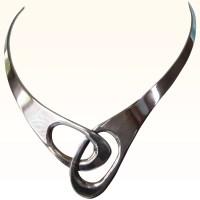 Signed Sterling Sculptural Modernist Neck Ring Necklace ...