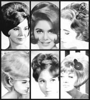 eight retro hair barrettes 1960s