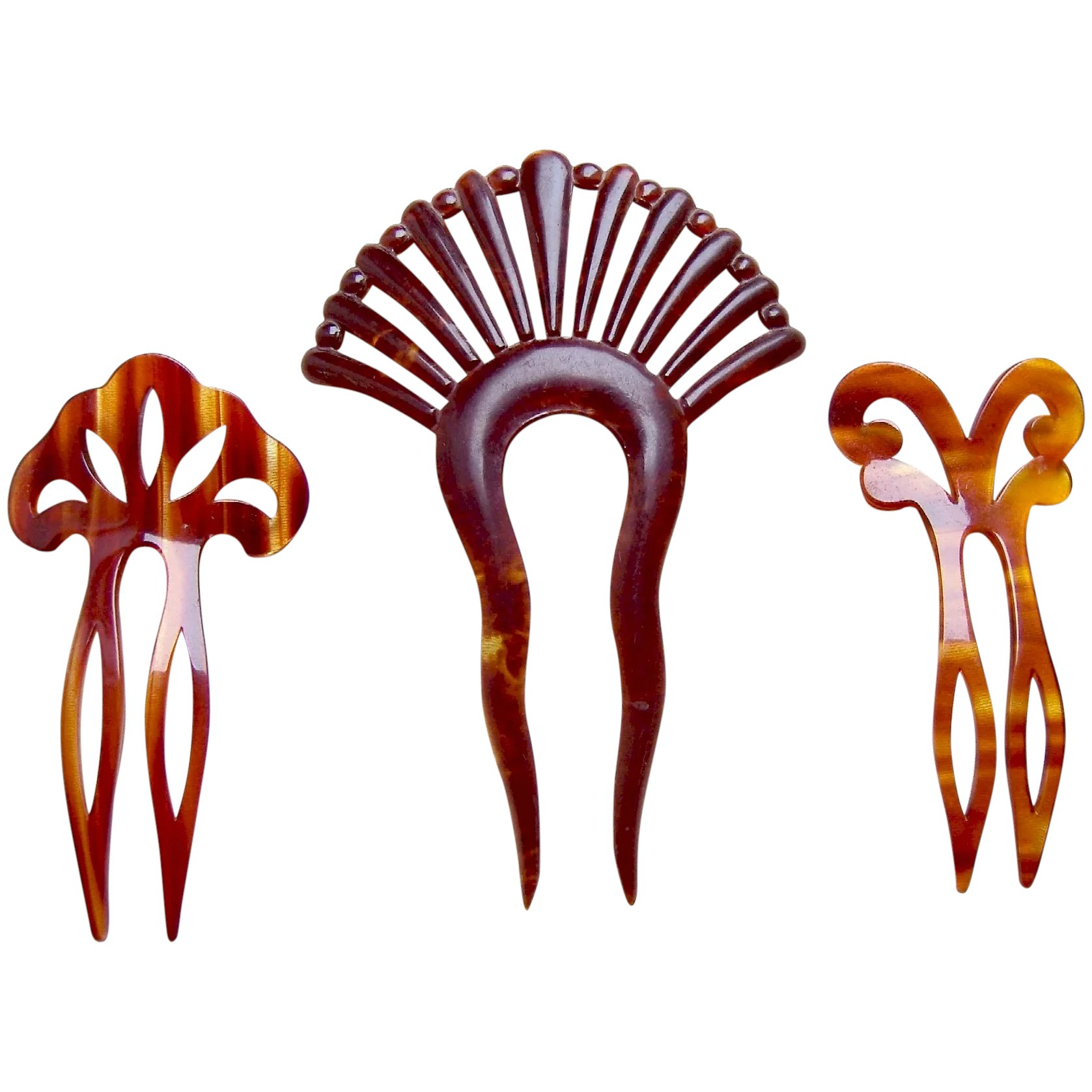 Three Art Deco Period Hair Combs Celluloid Hair Accessories Vanity The Spanish Comb Ruby Lane