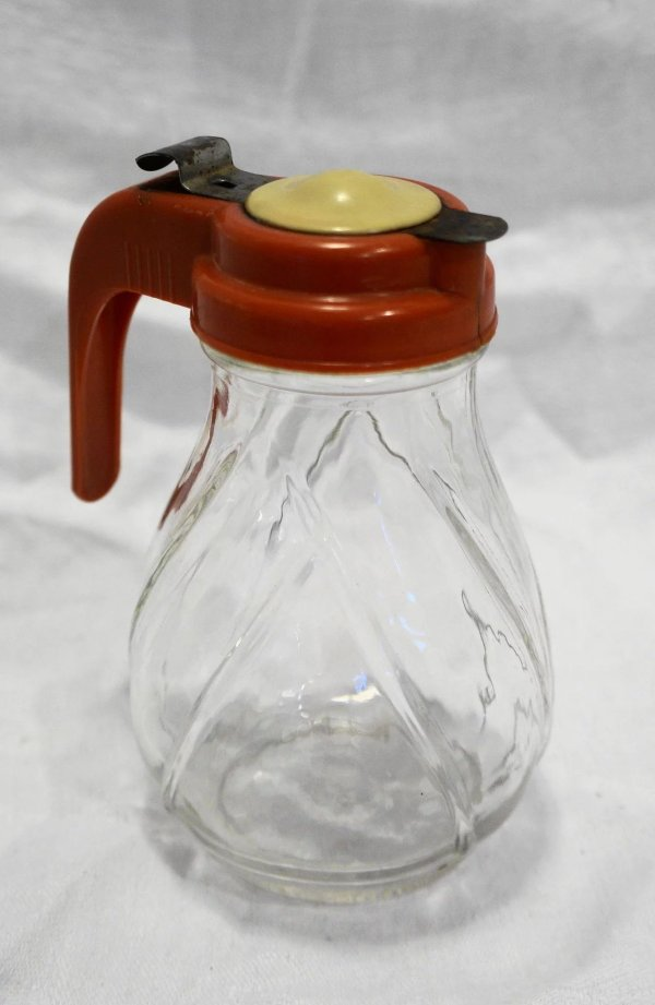 Pal Dispenser Drip Syrup Clear Glass Red Cream Plastic
