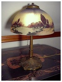 Antique Lamp Pittsburgh with Reverse Painted Shade Table