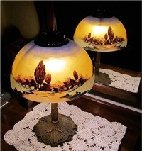 Antique Lamp Pittsburgh with Reverse Painted Shade Table ...
