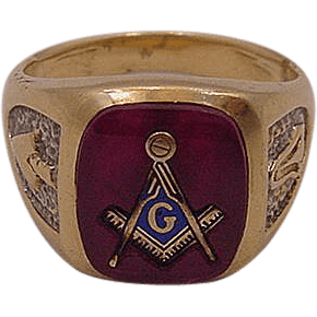 Men's 10K Gold And Ruby Masonic Ring from susieantiques on