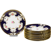 Set of 12 Antique England Coalport porcelain Dinner Plates ...